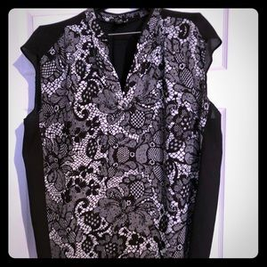 Semi-sheer black and white top